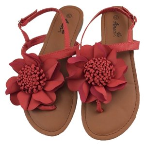 ANNA Footwear Cute Faux Leather Size 8.5 8.5 Casual Flat Red-Flower Sandals