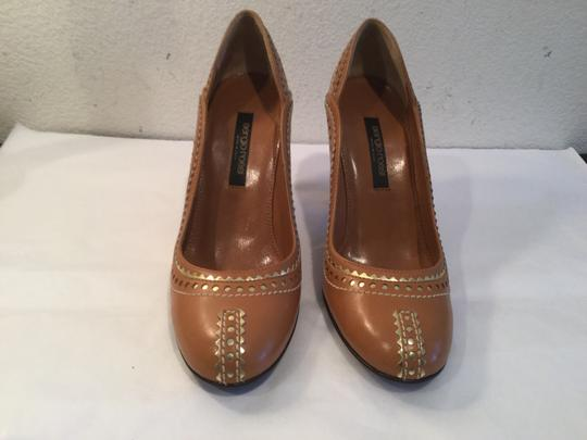 Sergio Rossi Lining Soles Swoop Pattern Italian MAJOR PRICE REDUCTION NEW Brown with gold all leather gorgeous topstitch Pumps