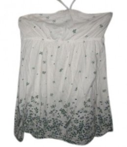 Abercrombie & Fitch Top Cream with blue and green