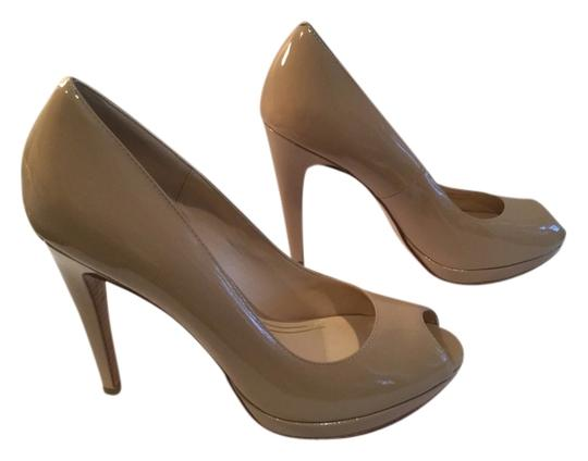 Cole Haan All Small Platform $10 OFF NEW Beige patent leather NikeAir soles leather lining peep toe Pumps