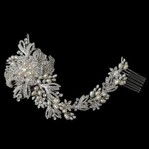 Elegance By Carbonneau Silver Plated Floral Vine Bridal Hair Comb