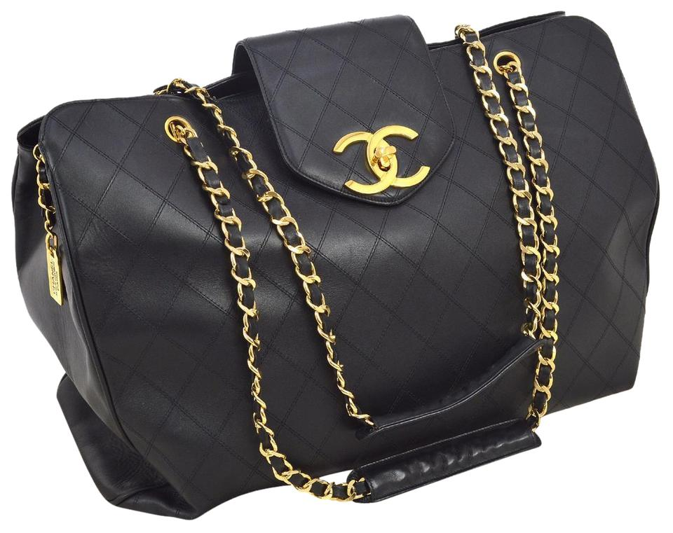 cb2c97ec7511 Chanel Supermodel Tote Quilted Black Lambskin Leather Weekend/Travel Bag