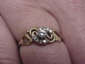 Art Deco 14kt .41cttw Solitaire Brilliant Cut Diamond YG Ring, 1930's