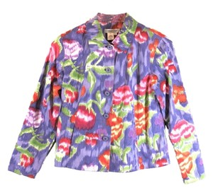 Coldwater Creek Watercolor Floral Cotton Jacket