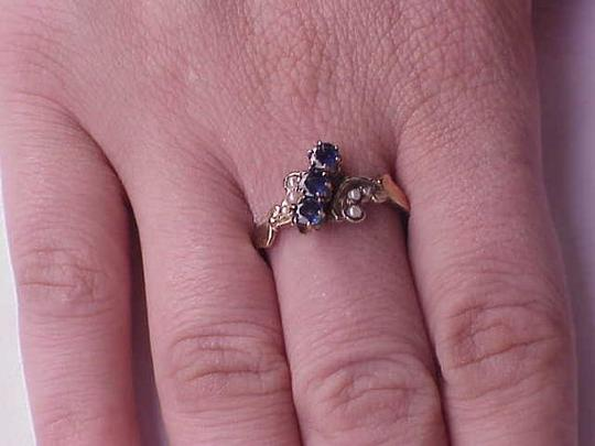 Other Victorian 12K Gold Genuine Blue Sapphires & Pearl Ring, late 1800s