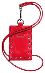 Coach Coach Studded Liquid Gloss Lanyard ID Case Red