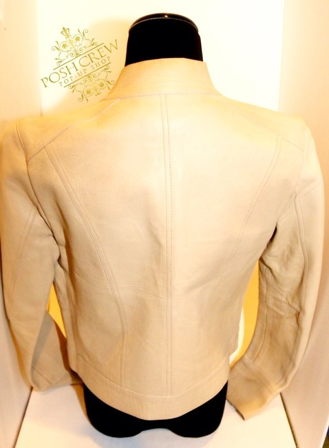 Gucci Leather Motorcycle Vintage Off White/Ecru Leather Jacket