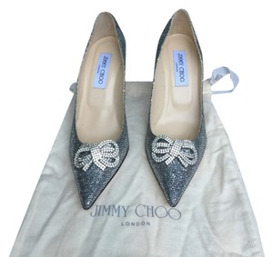 Jimmy Choo silver grey glitter Pumps