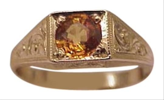 Other Unique Art Deco 10K Yellow Gold .75ct Genuine Sapphire Ring,1950s