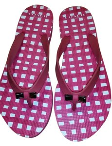 Coach Flip Flops Flipflops Thong Red and White Sandals