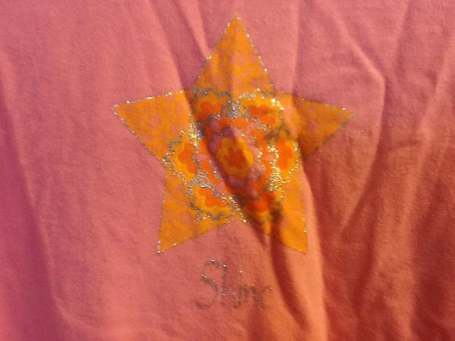 Gaiam Comfortable Glitter Star Sleeve Loose Fit Casual T Shirt Pink