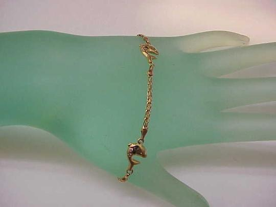 Other Estate Vintage 14k Yellow Gold Genuine Diamonds Sapphires Rubies Emeralds Dolphin Bracelet, Italy Amazing!!!