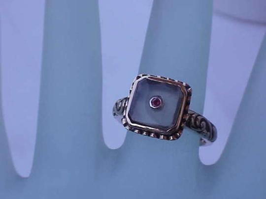 Other Antique Deco 14kt Yellow Gold Enameled Filigree Moonstone Ruby Ring
