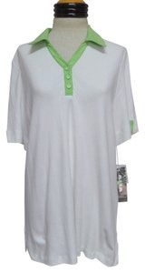 Alia Nwt Polo T Shirt White with Green Trim
