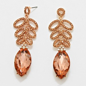 Teardrop Rose Gold Peach Rhinestone Earrings