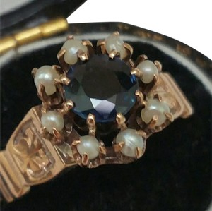 Preload https://item2.tradesy.com/images/antique-12k-rose-gold-100ct-blue-sapphire-and-seed-pearls-enamel-ring-343586-0-2.jpg?width=440&height=440