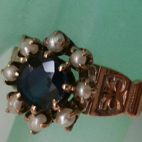 Other Antique 12K Rose Gold 1.00ct Blue Sapphire & Seed Pearls Enamel Ring