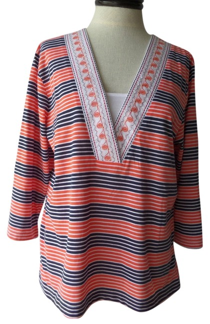 Preload https://item5.tradesy.com/images/shenanigans-tunic-orange-blue-and-white-striped-3435889-0-0.jpg?width=400&height=650