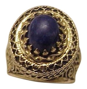 Estate Art Deco 14k Yellow Gold Filigree Huge Lapis Lazuli Ring