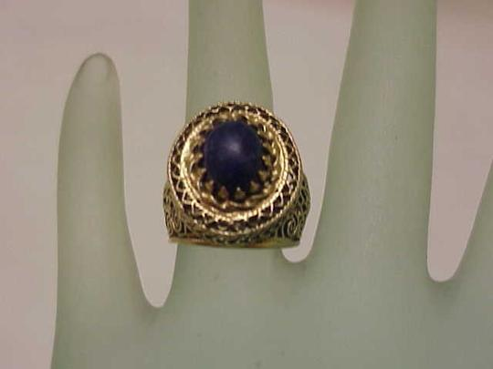 Other Estate Art Deco 14k Yellow Gold Filigree Huge Lapis Lazuli Ring