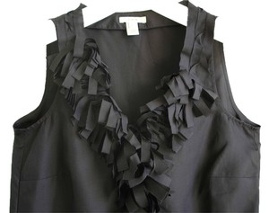 J.Crew Ruffle V-neck Embellished Black Decorative Sleeveless Top charcoal