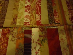 Laura Ashley Taupe Tan Rust Burgundy Designer Bunting Fabric Fall Colors Reception Decoration