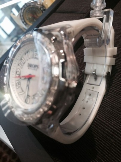 Drops Milano Drops Milano 41 Mm White Face On White Resin Strap Swarovsky Crystals Watch