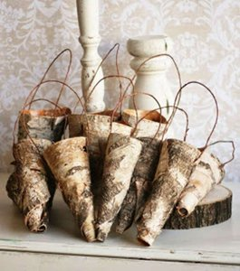 White Only For Louise M. - 10 Birch Bark Hanging Cones Flower Girl Basket
