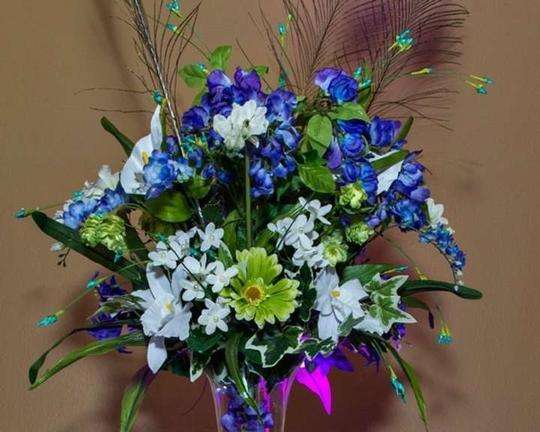 Teal and Purple Peacock Light Centerpiece
