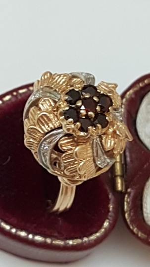 Other Art Deco 14k gold Platinum Ring with Diamonds and Garnets