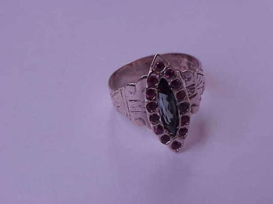 Other Antique 14k Rose Gold Ring:Genuine Rubies & Green Tourmaline, 1860's.