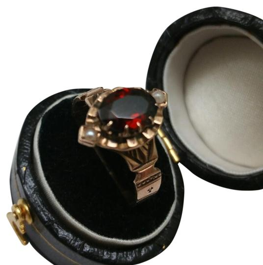 Antique Unique 12k Rose Gold Natural Garnet and Pearl Rng
