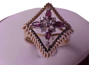 Unique Art Deco 14K Yellow Gold Ring:Genuine Amethysts & Diamonds