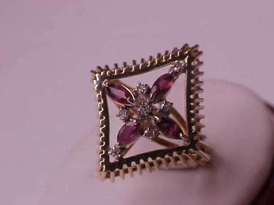 Other Unique Art Deco 14K Yellow Gold Ring:Genuine Amethysts & Diamonds