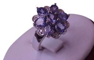 Samuel B. Designer Samuel B BjC 14k White Gold Ring with Tanzanites and Diamonds,1960s
