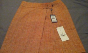 Adrianna Papell Wrap Buckle Skirt Orange