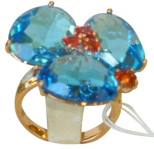 Italian fine jewelry 18k rose gold triple blue topaz and orange sapphires ring