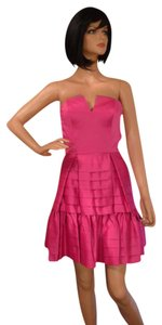 Betsey Johnson Satin Pleated Tiered Skirt Size 2 Nwt V-cut Neckline Structured Bodice Boning A-line Dress