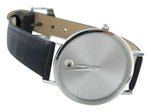Movado MOVADO WATCH SILVER DIAL BLACK CALF LEATHER BRACELET WRISTWATCH AUTHENTIC SWISS