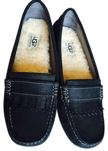 UGG Australia Pebbled Leather Wool Black/grey Flats