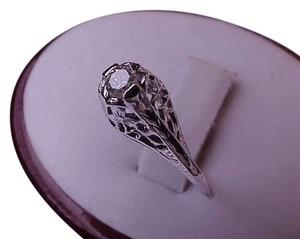 Estate Art Deco Vintage 14k White Gold .30carat Diamond Filigree Ring, 1930s