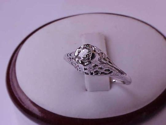 Other Estate Art Deco Vintage 14k White Gold .30carat Diamond Filigree Ring, 1930s