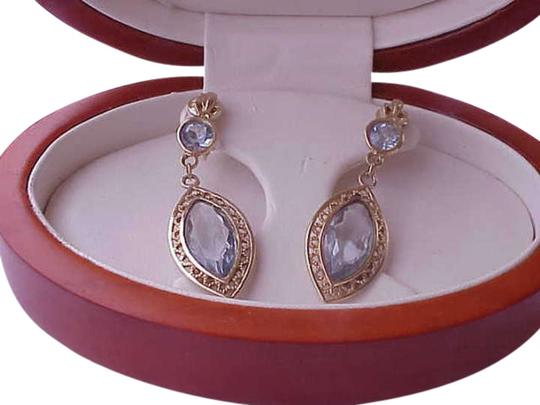 Other Estate Vintage 14k Yellow Gold Genuine Blue Topaz Filigree Clips Earrings