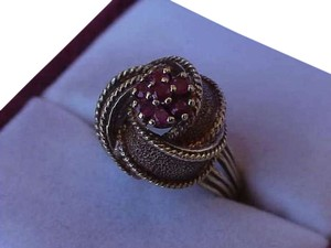 Art Deco Genuine Ruby's 14K Yellow Gold Ring, Heavy 8.9gr,1950's