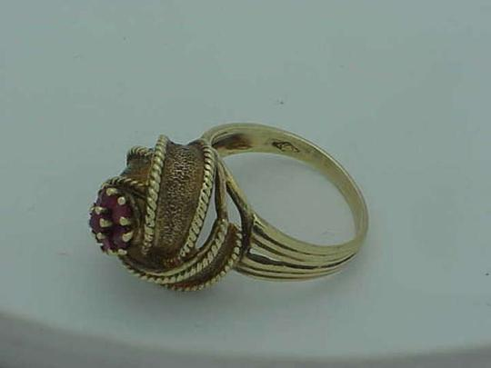 Other Art Deco Genuine Ruby's 14K Yellow Gold Ring, Heavy 8.9gr,1950's