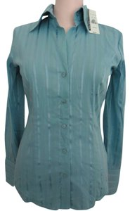NEW YORK & COMPANY Button Down Shirt TEAL BLUE