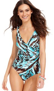 Miraclesuit Size: 12 Animal Print Slimming One-Piece Swimsuit