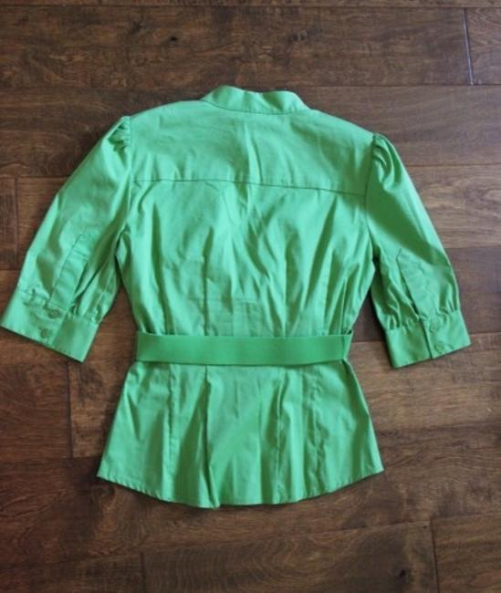 bebe Belted Date Night Dress Shirt Ruffle Top Green