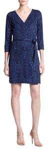 Diane von Furstenberg Dvf Wrap Shadow Grain Midnight Dress