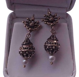 Victorian 14kt Yellow Gold Pearl Enamel Dangling Ornate Earrings